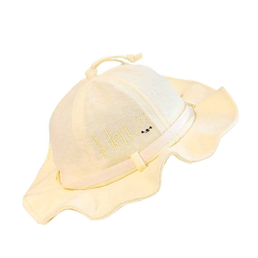 NingNing NN Sun hat, 2019 New, Wide-Brimmed hat, Foldable, Baby Cotton Cute Fisherman hat, Baby Sun hat Children's Outdoor Equipment (Color : Yellow) by NingNing