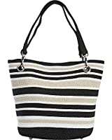 Magid Paper Straw Metallic Stripe Small Tote