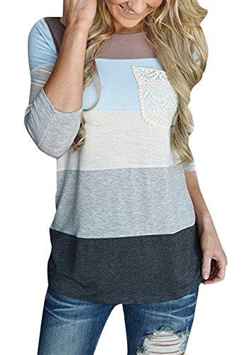JackenLOVE Autunno Donna Lungo Tops Moda Colorati Cucitura T-Shirt Camicie Blouse Casual Rotondo Collo Maniche 3/4 Maglietta Bluse Grigio