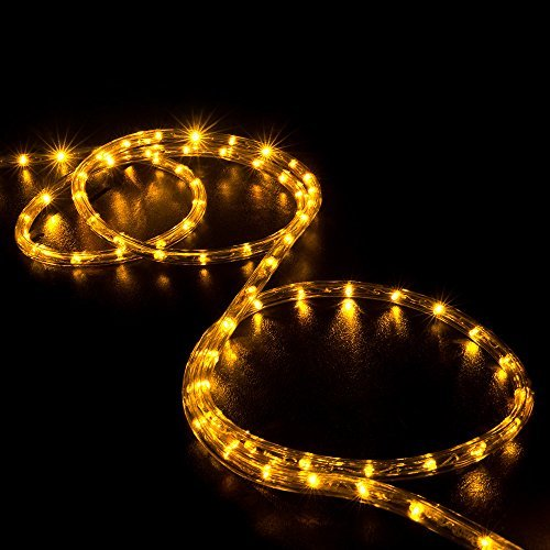 WYZworks 150' feet Orange / Amber LED Rope Lights - Flexible 2 Wire Accent Holiday Christmas Party Decoration Lighting - Foot Clear Rope Lights