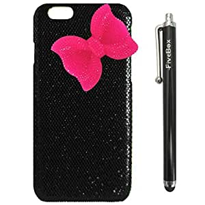 FiveBox Deluxe Sweety Girls Case Cover Hot Pink Bow Decorated shinning Glitter for iphone 5ss(not fit for iphone 5ss) - Black