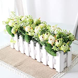 "Situmi Artificial Fake Flowers Fence Bouquet Pastoral Style Balcony"" Diy Decoration for Garden Wedding Green Camellia Home Accessories 16"