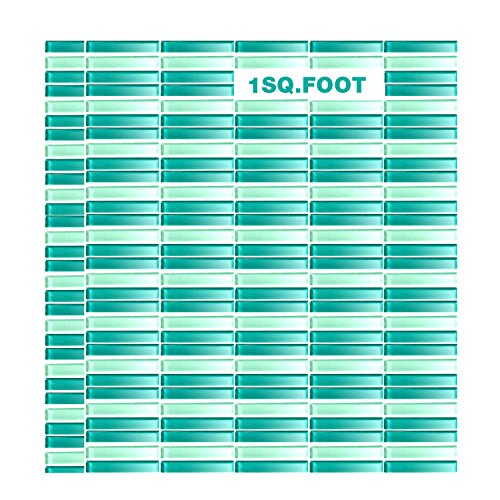 EACHPOLE Home Décor Glass Tile Sheets on Mesh Backing Mosaic Glossy 2-Tone Teal Bathroom Kitchen, -