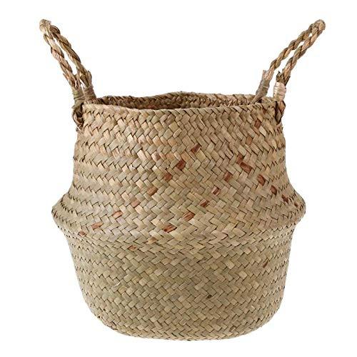 (Best Quality - Storage Baskets - Foldable Natural Woven Seagrass Knit Big Belly Storage Basket Flower Pot Laundry Basket Weaving Basket Fruit Basket - by SeedWorld - 1 PCs)