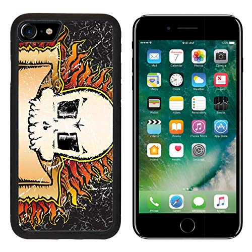 MSD Apple iPhone 8 Case Aluminum Backplate Bumper Snap Case Image ID: 3590036 Flaming Skull Grunge