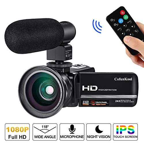 (Video Camera Camcorder with Microphone Remote Control Wide Angle Lens CofunKool Full HD 1080P Digital Vlogging Camera for)