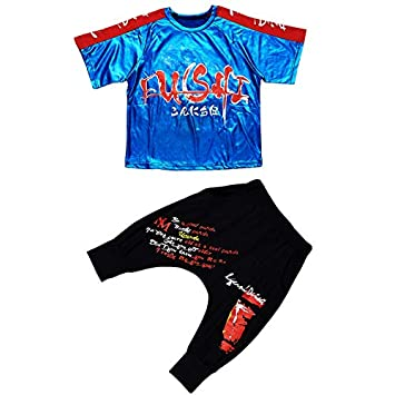 Unisex Children Shiny Sequins Splice Stage Show Performances Street Dance Outfits Ballroom Hip Hop Dancewear Costume Yudesun Kids Jazz Modern Dancing Clothes
