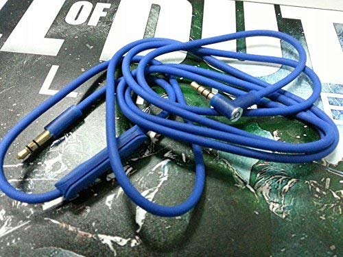 YHC Remote Mic Volume Control Talk Cable Cord Line Lead for Beats by Dr.Dre MIXR Headphones Color Blue