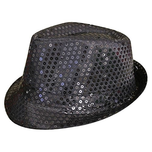 SODIAL(R) Sequin Trilby Hat Top Hat Fancy Dress Party Hen Stag Night Dance Theatre Shows, (Cabaret Themed Costumes)