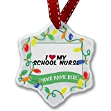 Personalized Name Christmas Ornament, I heart love my School Nurse NEONBLOND