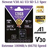 MicroSD Micro SD Card Plus Adapter. 128GB 128 GB MicroSDXC SDXC Class 10 Memory. U3 A1 V30 Extreme Pro Ultra High Speed UHS-I UHS-1 Amplim TF XC Card Pack for Phone, Nintendo, Galaxy, Fire, Gopro