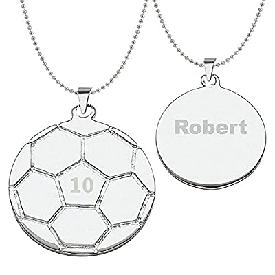 HACOOL 925 Sterling Silver Personalized Unisex Soccer Pendant Necklace Custom Made with Any Name & Number