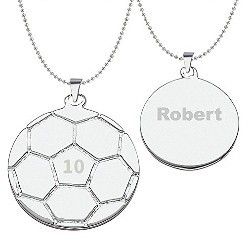 HACOOL World Cup 925 Sterling Silver Personalized Unisex Soccer Pendant Necklace Custom Made with Any Name & Jersey Number