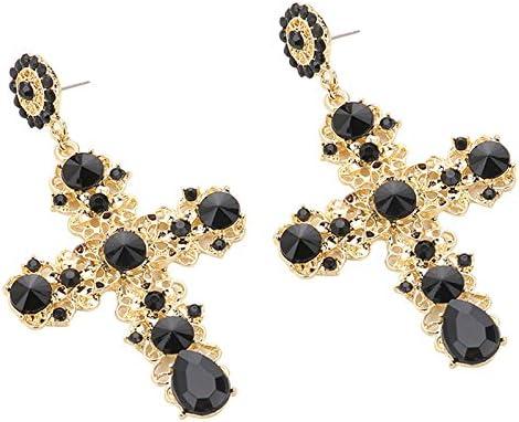ACAMPTAR Boucles DOreilles en Forme de Croix en Cristal Noir Vintage pour Femmes Baroque Boh/èMe Grandes Boucles DOreilles Longues Bijoux Noir