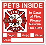 6 Pets Inside Red Safety Alert Warning Window Door Stickers; In Fire or Emergency They Notify Rescue Personnel to Save Pet