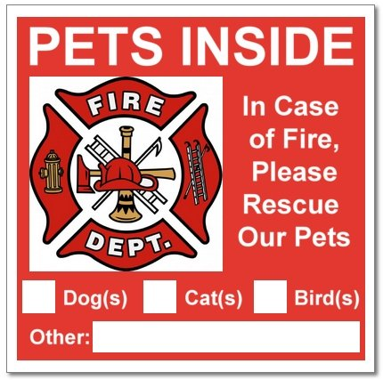 (6 Pets Inside Red Safety Alert Warning Window Door Stickers; in Fire or Emergency They Notify Rescue Personnel to Save Pet; 3 X 3)