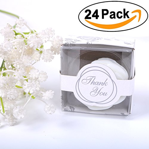 AiXiAng 24 Pack Handmade White Rose Style Soap Favors Guests Keepsake Gift for Wedding Gift Baby Favors, Parties, Thanksgiving Gifts ,Bridal Shower Favors Decorations Gifts ,Wedding (Handmade Guest Soap)