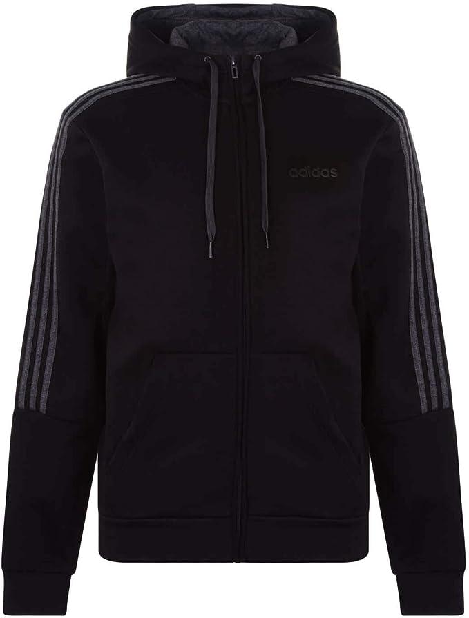 adidas 3 Stripes Logo Zip Hoodie Mens | Mens fleece hoodie