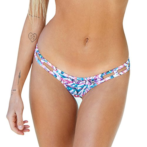 Escape Thong - Wicked Weasel Sexy Sweet Escape - Micro Thong Bikini Bottom (456) Womens Swimsuits (X-Large, White Multi Leaf)