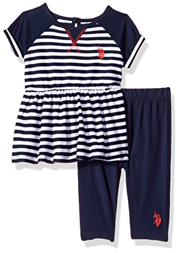 U.S. Polo Assn. Baby Girls' French Terry Striped Peplum Top and Capri Legging, Peacoat, 18M (Top Terry Polo)