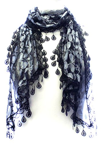 LL Ladies Black Fashion Leaf Lace Scarf with Rain Drop Tassels Nature Inspired (Lace Scarf Leaves)
