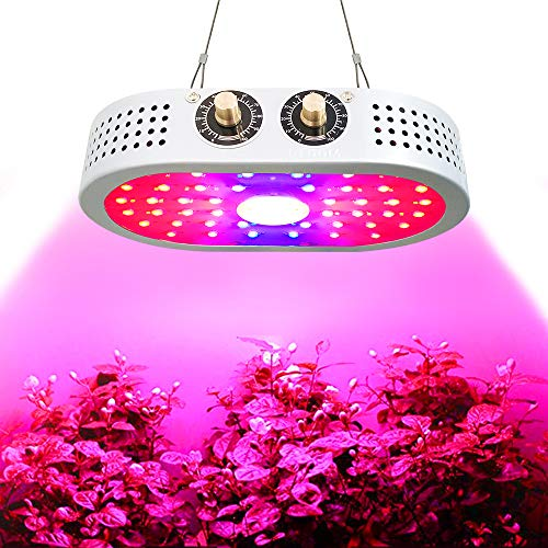 1100W Upgraded LED Grow Light, COB with Bloom and Veg Adjustable Knobs, Full Spectrum and Professional Plant Growing Lamps with Dual-Chips 10W LED , Ideal Light for Indoor Plants and Greenhouse.