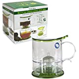 The Fine Life Bottom Dispensing Loose Leaf Tea Infuser and Coffee Brewer - Green - 16 oz. - Includes Acrylic Spoon, Acrylic Extender Ring, and Additional Filter