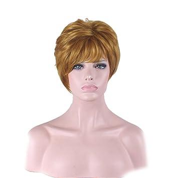 Mujeres chicas moda pelo capas rizado ondulado corto peluca oro fibra resistente al calor pelucas sintéticas