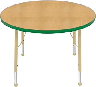 "product image for Creative Colors 36"" Round Table with Top Color: Maple, Edge Color: Dustin Green, Leg Height: Standard 21""-30"", Glide Style: Ball"