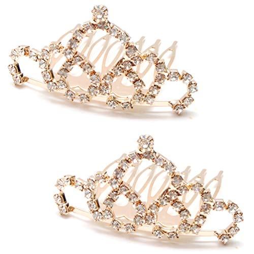 Luxxii Pretty Mini Rhinestone Crystal Crown Bridal Wedding Crown Headband Comb Pin Headpiece (Pack of 2, B)