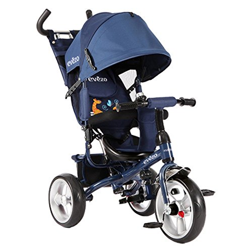 Evezo Stroll 'n Trike, 4-in-1 Convertible, Reclining Seat, Age 1 to 6, Model Turk, Blue by Evezo (Image #1)