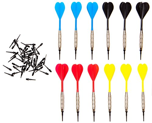 Shot Taker Co. Soft Tip Darts Set | 12 Brass 16 Grams Darts | 50 Black 2BA Tips | 3 of Each Colour: Red, Blue, Yellow, Black | Perfect for Electronic and Plastic Dartboard at Bar and Tournament