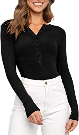 REORIA Womens V Neck Long Sleeve Tops Ribbed Knitted Stretchy Basic Leotard Bodysuits Jumpsuit