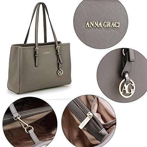 Designer Shoulder 2 Faux Office Grey Handbags Leather College Design Womens Ladies Bags Large 0Hxgq55O