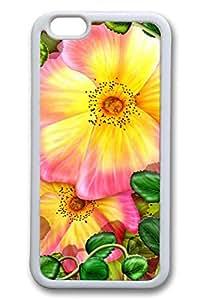 iPhone 6 casos, iPhone 6 caso - diseño elegante de goma blanca para iPhone 6 flores rojas pintura ajuste fino con protección antigolpes para iPhone 6 11,94 cm