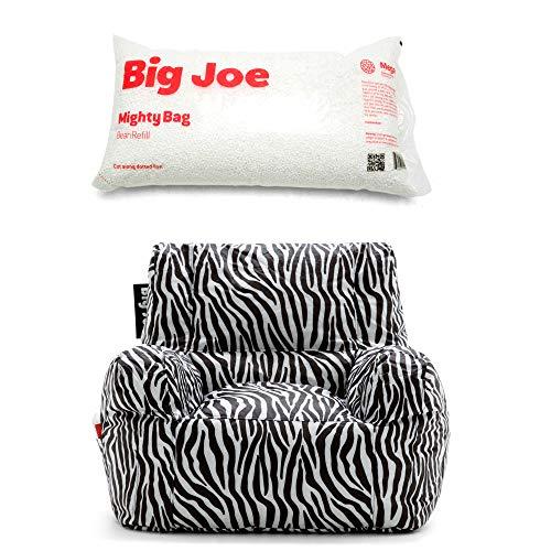 (Big Joe SmartMax Duo Bean Bag Chair in Zebra Bundle Megahh Bean Refill 100-Liter in Single Pack)