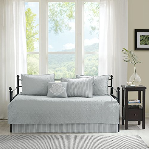 Madison Park Quebec Daybed Size Quilt Bedding Set - Grey, Damask - 6 Piece Bedding Quilt Coverlets - Ultra Soft Microfiber Bed Quilts Quilted Coverlet