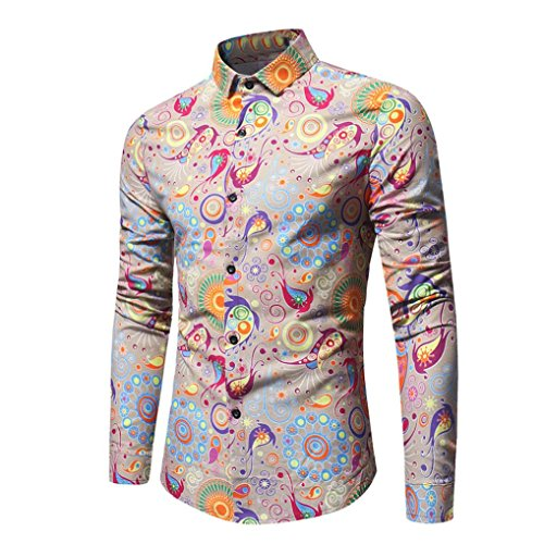 Easytoy Fashion Floral Print Dress Shirt Men's Casual Slim Long-Sleeved Printed T Shirt (Yellow, XL) - Yellow Long Sleeved Shirt