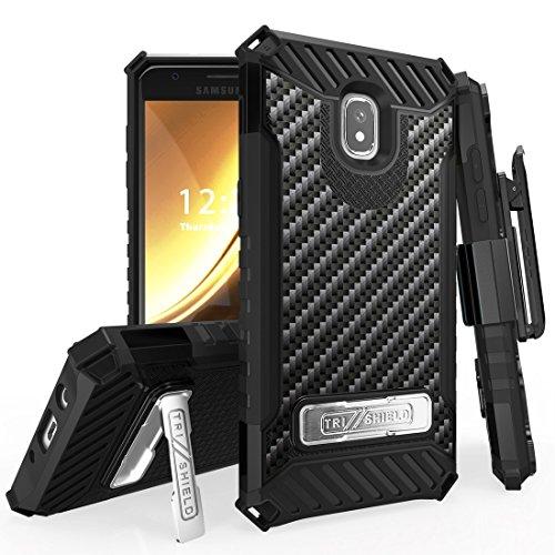 BC Tri-Shield Case Compatible Samsung Galaxy J3 Achieve - Military Grade Drop Tested [MIL-STD 810G-516.6] Kickstand Cover Case Belt Clip Holster - Carbon Fiber