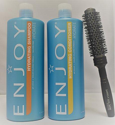 Enjoy Hydrating Shampoo and Conditioner DUO Set 33.8 fl oz with (Sarrela Ionic Hair Brush) Small (33.8 oz/1000 ml - Small Brush DUO KIT)