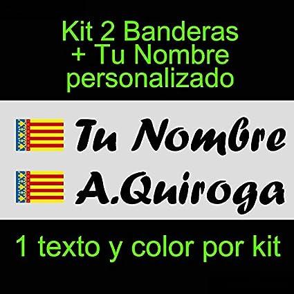 Vinilin - Pegatina Vinilo Bandera Valencia + tu Nombre - Bici, Casco, Pala De Padel, Monopatin, Coche, etc. Kit de Dos Vinilos (Negro): Amazon.es: Coche y moto