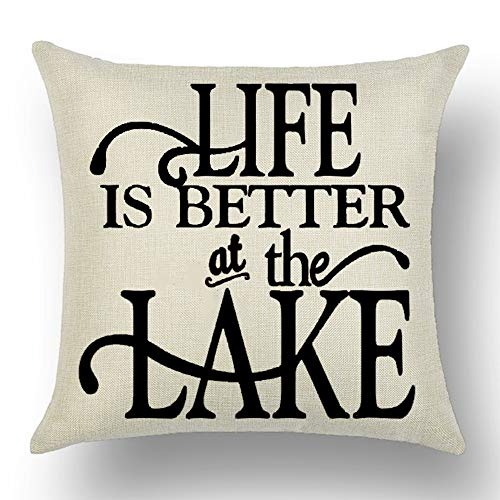 - WePurchase Black Word Art Life is Better at The Lake Summer Inspirational Decoration Cotton Linen Decorative Home Sofa Living Room Throw Pillow Case Cushion Cover Square 18x18 Inches