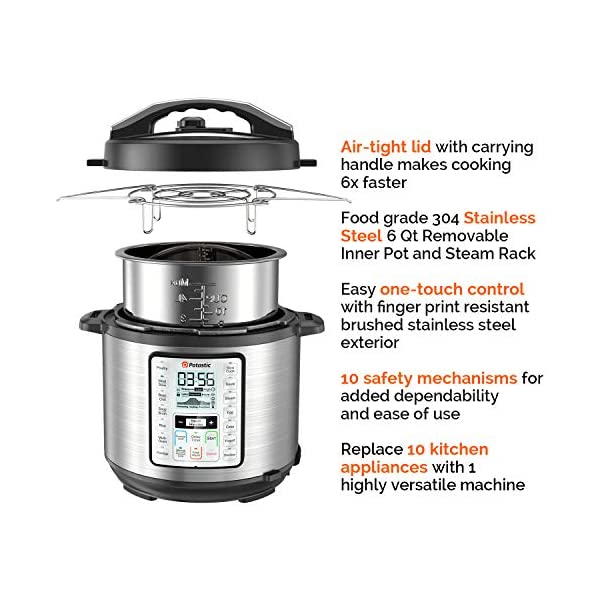 Potastic EP6 10-in-1 Programmable Electric Pressure Cooker,6 Quart,LCD Display,Instant Cooking with Stainless Steel Pot… 4