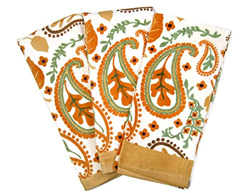 Fall Themed Everyday Kitchen Cotton Dish Cloths Set of 3 Towels (Orange & White Paisley) (Paisley Dish Cotton)