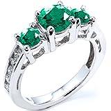 1.70 Carat (ctw) 14K White Gold Round Emerald And Diamond Ladies Bridal Engagement Ring (Size 4)
