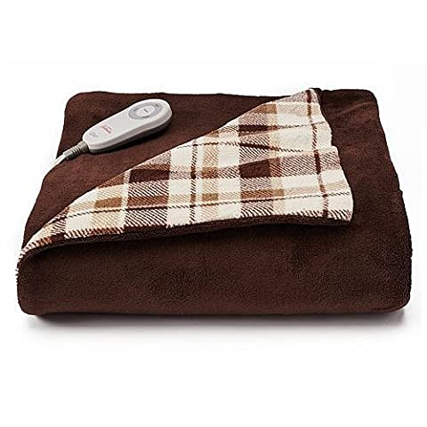 Sunbeam Microplush Comfy Toes Electric Heated Throw Blanket w Foot Pocket Allister Plaid - Plaid Electric Blanket