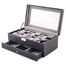 MVPower 12-Slot Leather Watch Box Jewelry Display Storage Case with Drawer and 12 Removable Storage Pillows, Watch Case Holder for Women Men