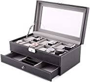 HOMFA 12 Slots Leather Watch Box Jewelry Display Case with Drawer and Removable Storage Pillows,Watch Case for