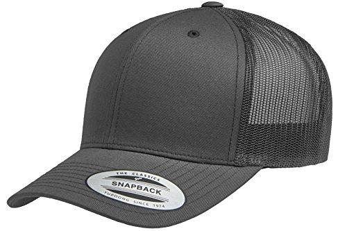 Yupoong Retro Trucker Snapback Cap | Mesh Back, Adjustable Ballcap w/Hat Liner (Charcoal) ()