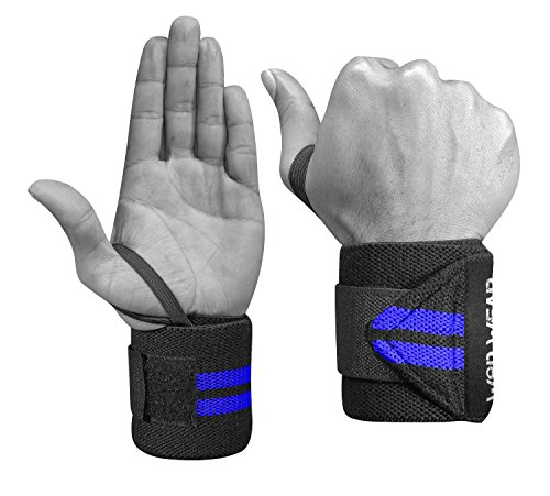 Wrist Wraps - Professional Quality Elastic - 18 Inch Pair of Two - Powerlifting, Bodybuilding, Weight Lifting, Wrist Supports for Weight Training by WOD Wear